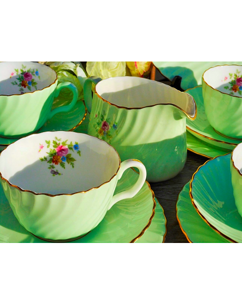 (OUT OF STOCK) MINTON GREEN FLORAL TEA SET